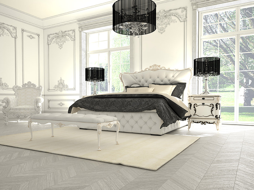 Interior of a classic style bedroom in luxury villa. 3d renderin